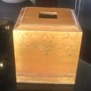 Gold Gilted Wood Tissue Box